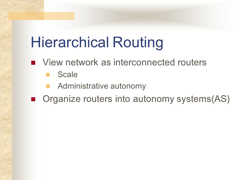 Hierarchical Routing View network as interconnected routers