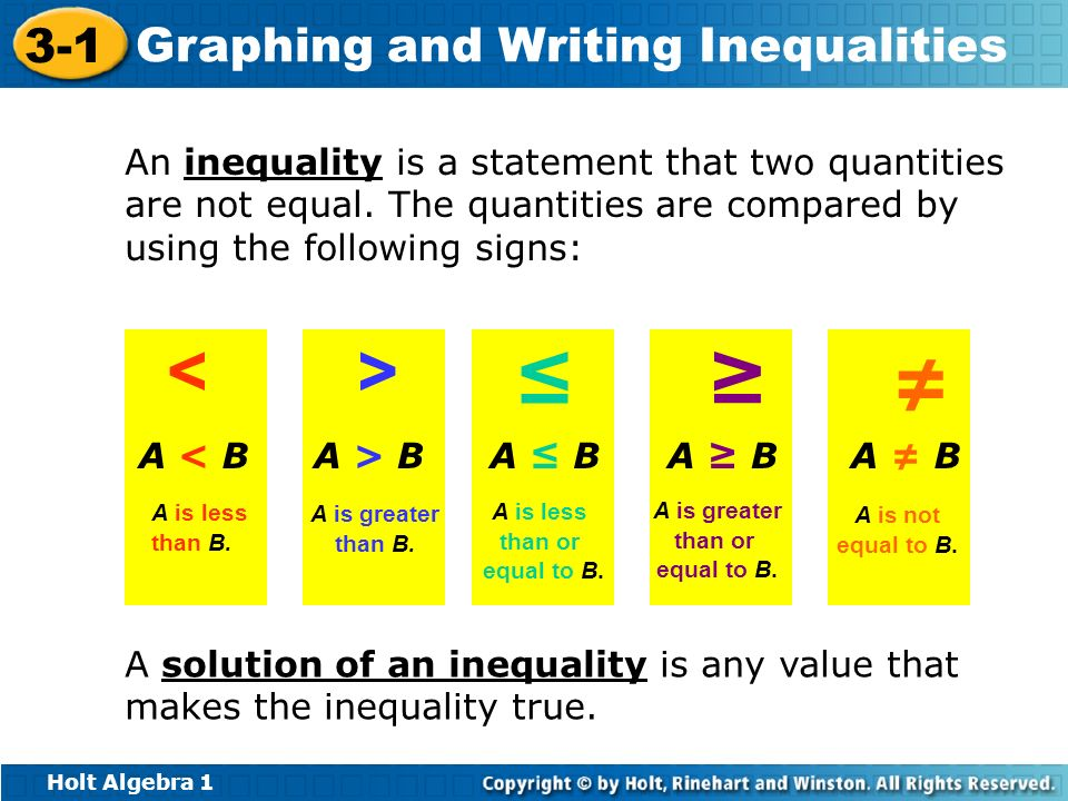 An inequality is a statement that two quantities are not equal