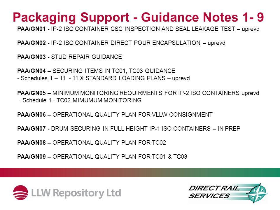 Packaging Support - Guidance Notes 1- 9