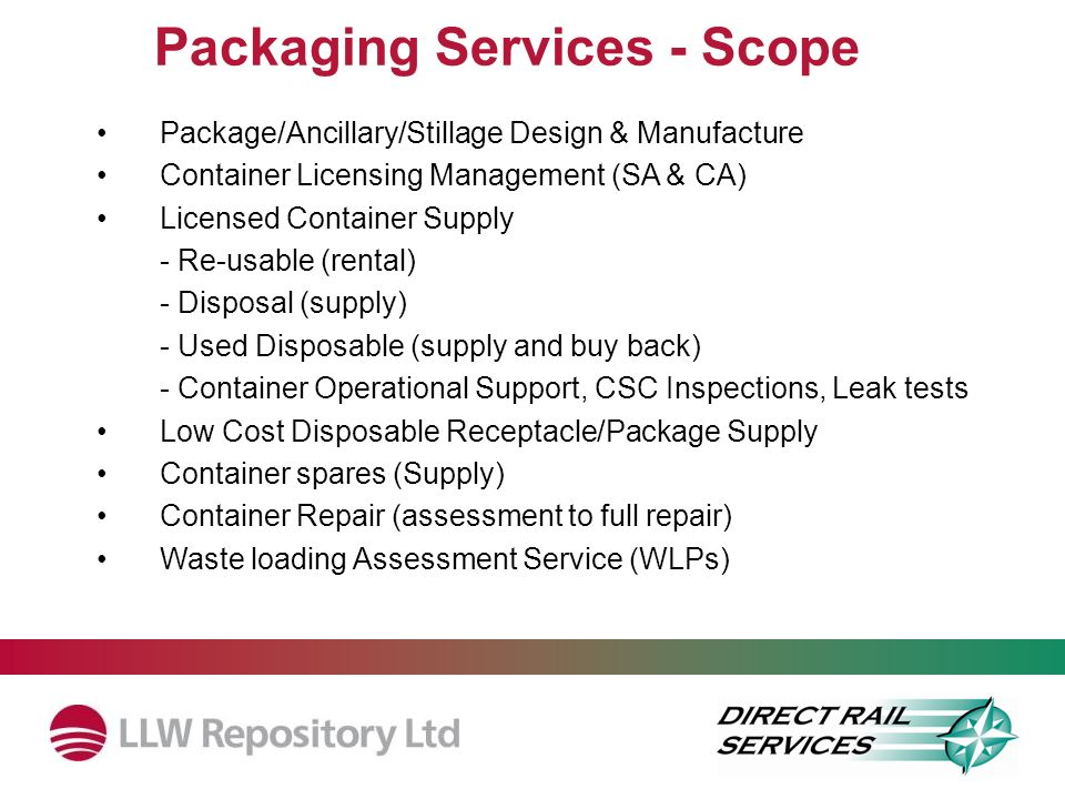 Packaging Services - Scope