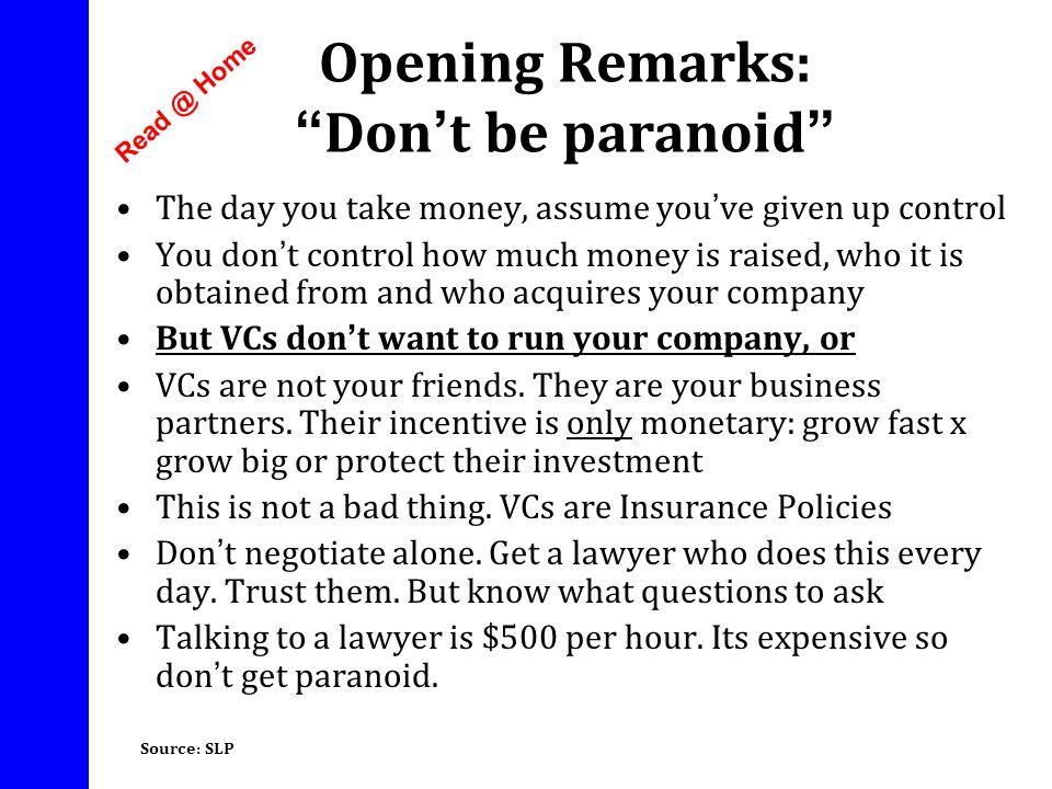 Opening Remarks: Don't be paranoid