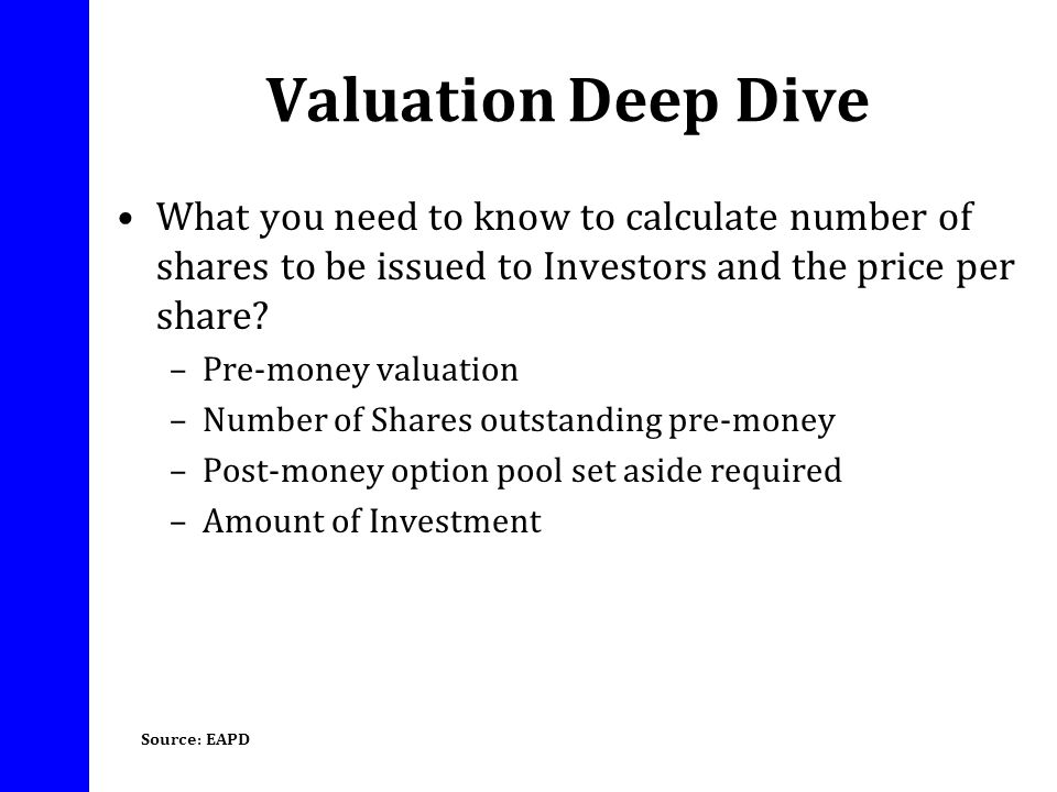 Valuation Deep Dive What you need to know to calculate number of shares to be issued to Investors and the price per share