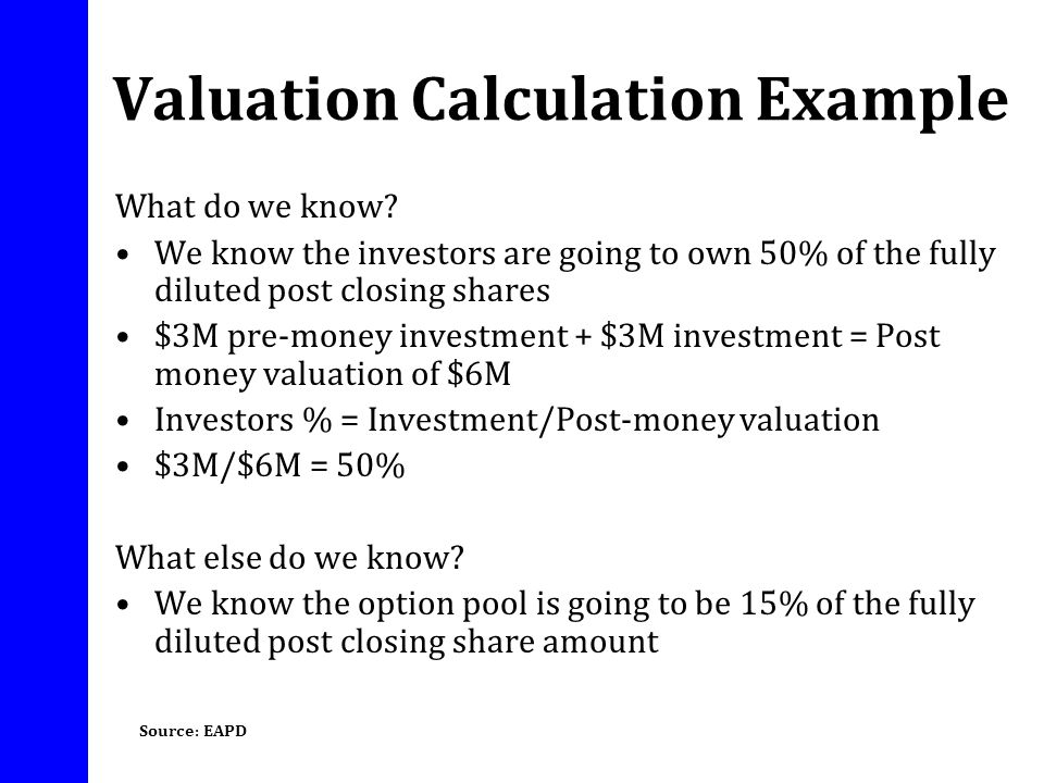 Valuation Calculation Example