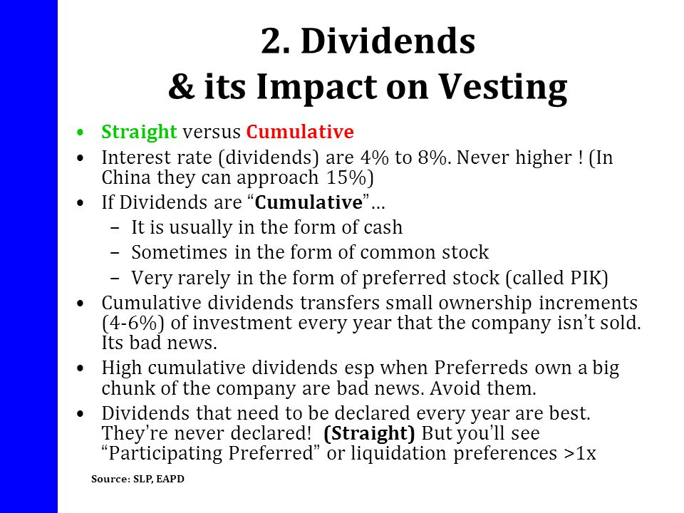 2. Dividends & its Impact on Vesting