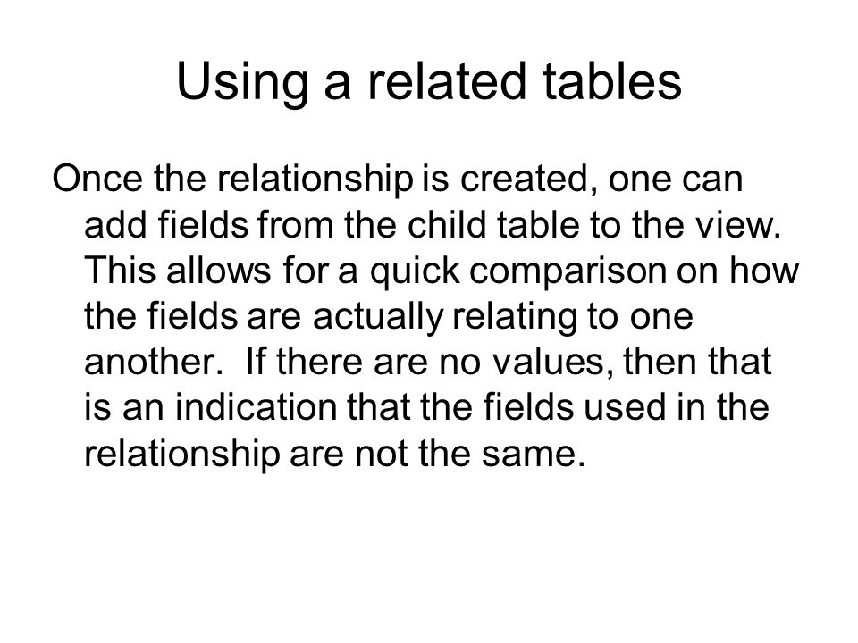 Using a related tables