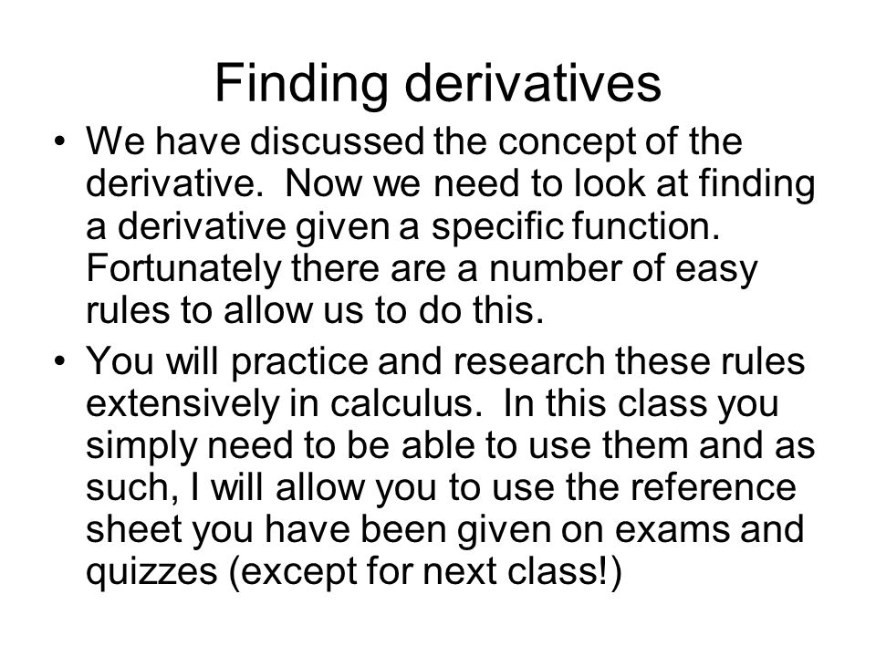 Finding derivatives