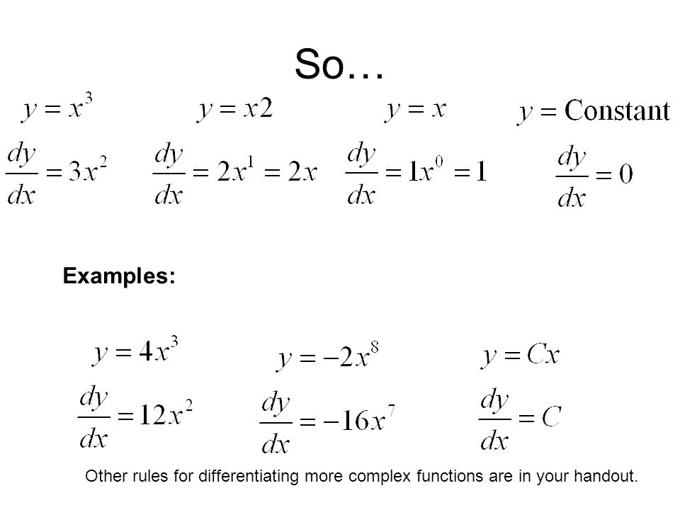So… Examples: Other rules for differentiating more complex functions are in your handout.