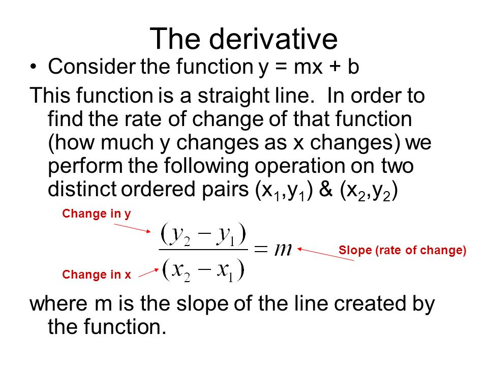 The derivative Consider the function y = mx + b