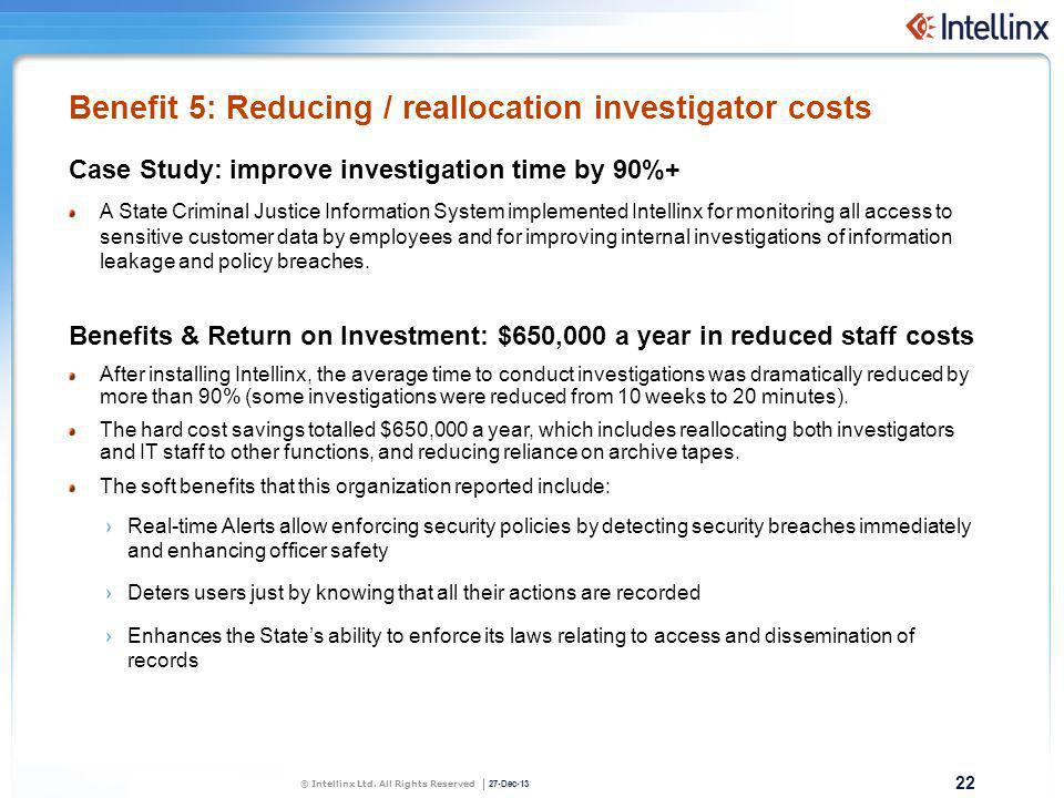 Benefit 5: Reducing / reallocation investigator costs