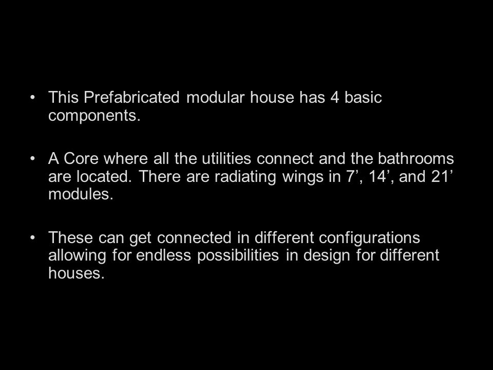 This Prefabricated modular house has 4 basic components.