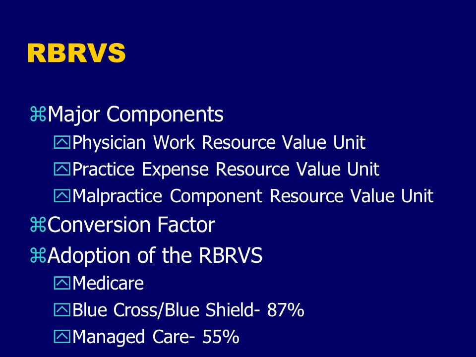 RBRVS Major Components Conversion Factor Adoption of the RBRVS