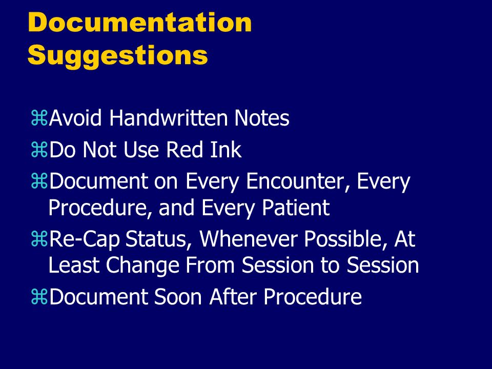 Documentation Suggestions