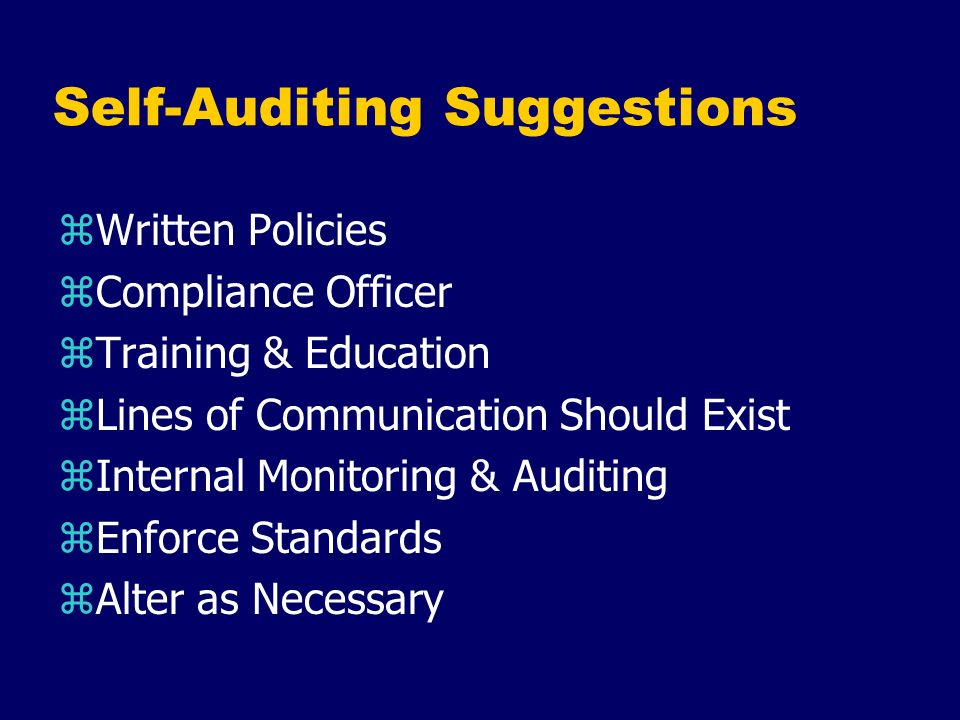 Self-Auditing Suggestions