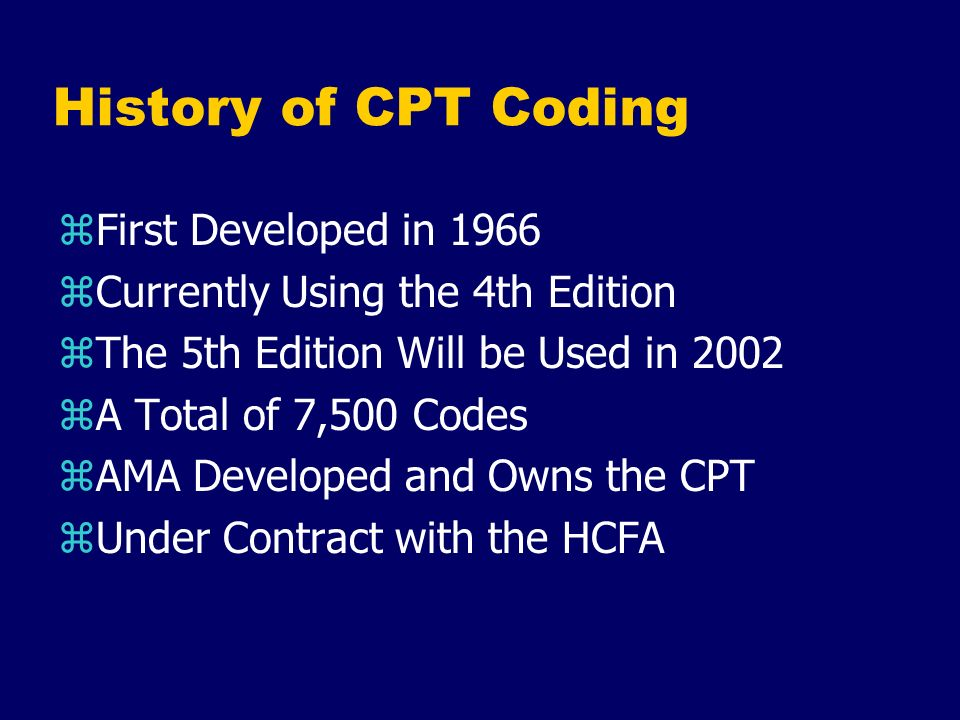 History of CPT Coding First Developed in 1966