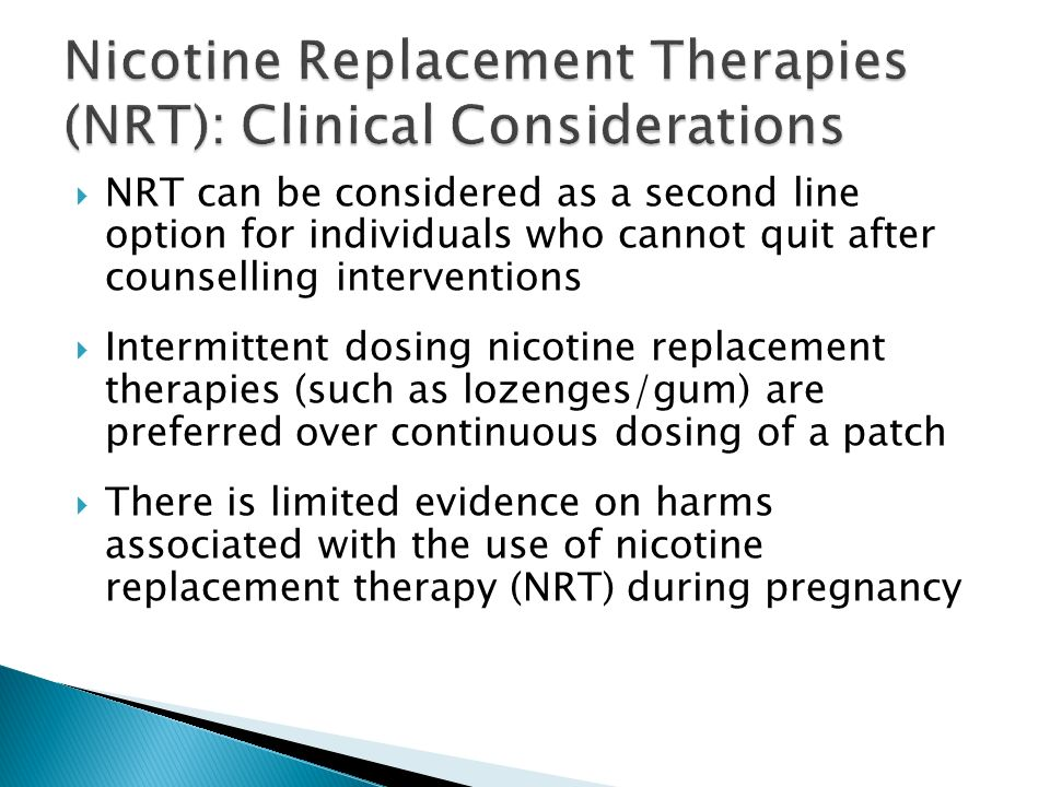 Nicotine Replacement Therapies (NRT): Clinical Considerations