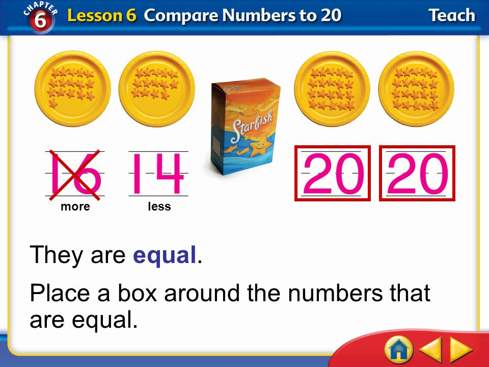 Place a box around the numbers that are equal.