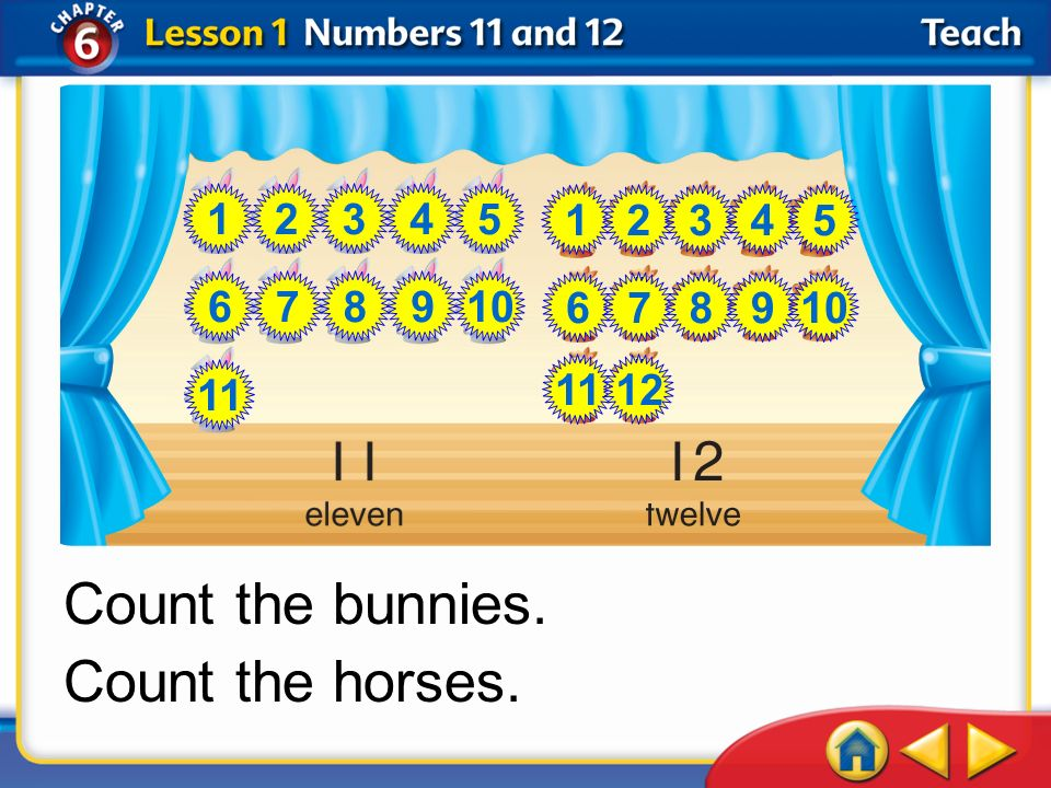 Count the bunnies. Count the horses. 1 2 3 4 5 1 2 3 4 5 6 7 8 9 10 6