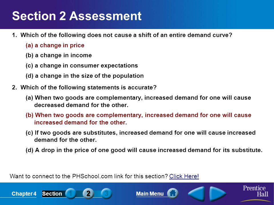 Section 2 Assessment 1. Which of the following does not cause a shift of an entire demand curve (a) a change in price.