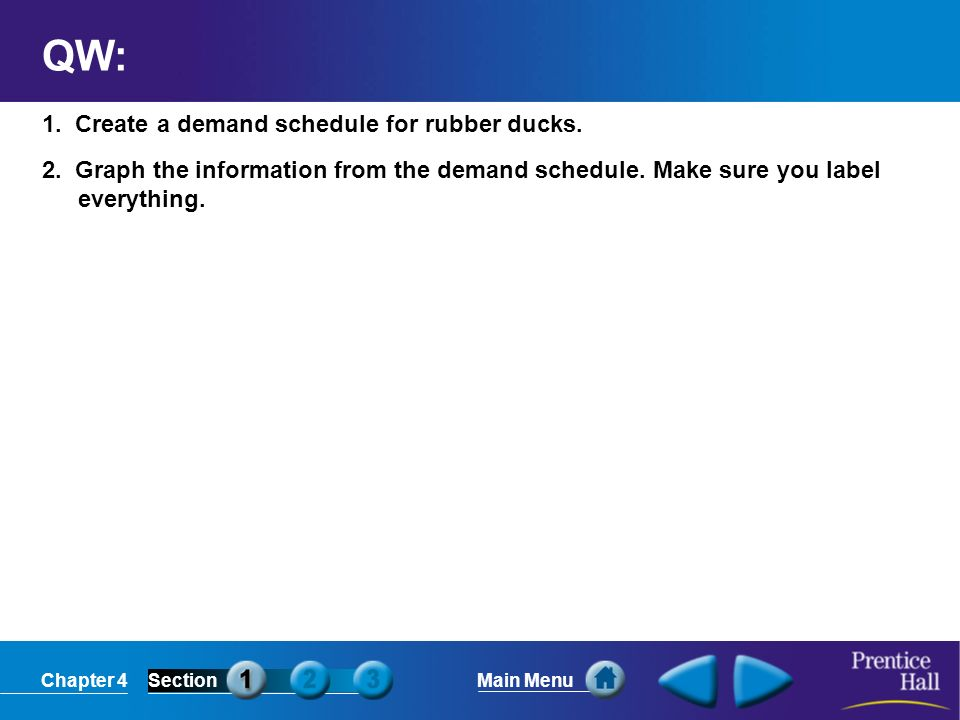 QW: 1. Create a demand schedule for rubber ducks.