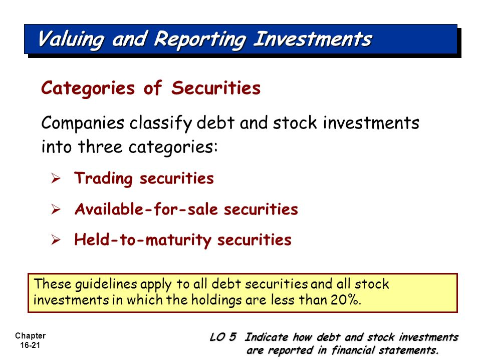 Valuing and Reporting Investments