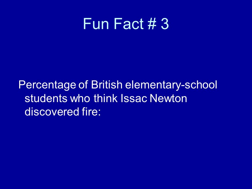Fun Fact # 3 Percentage of British elementary-school students who think Issac Newton discovered fire: