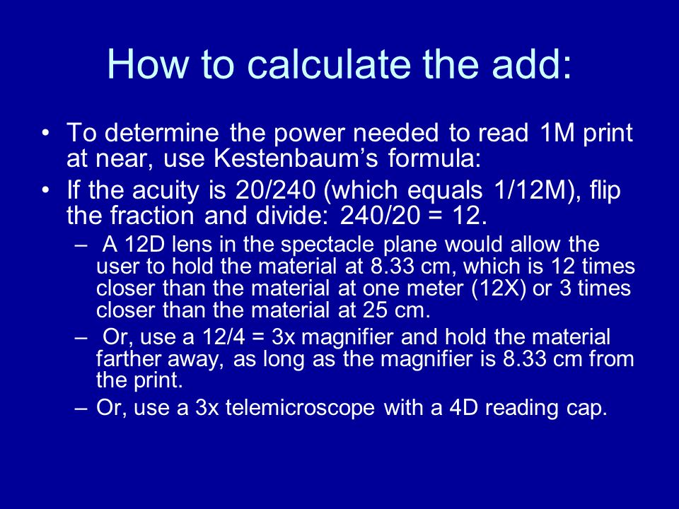 How to calculate the add: