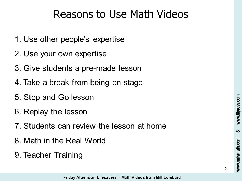 Reasons to Use Math Videos