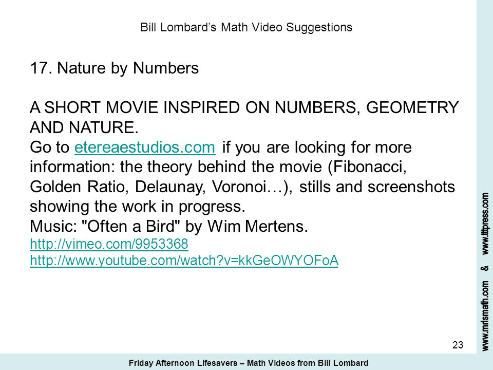 Bill Lombard's Math Video Suggestions