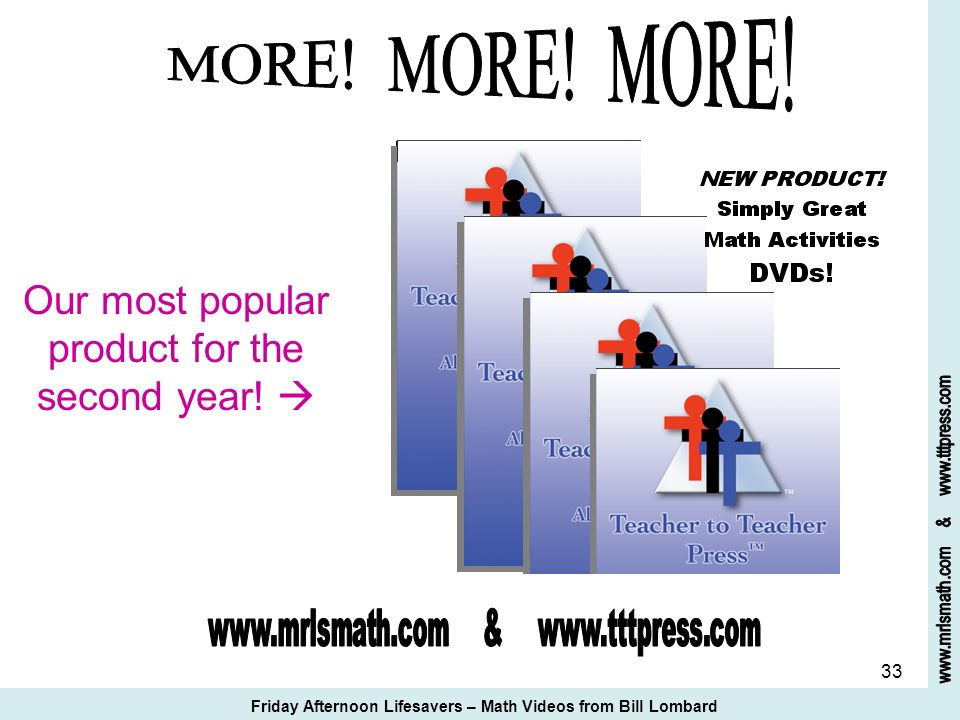 MORE! MORE! MORE! Our most popular product for the second year! 
