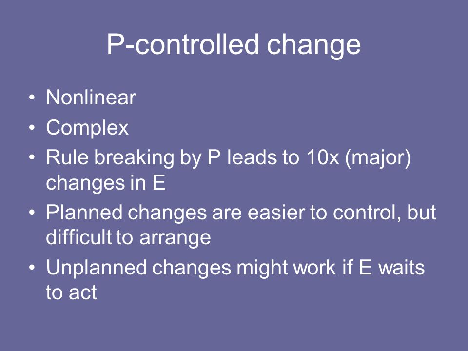 P-controlled change Nonlinear Complex