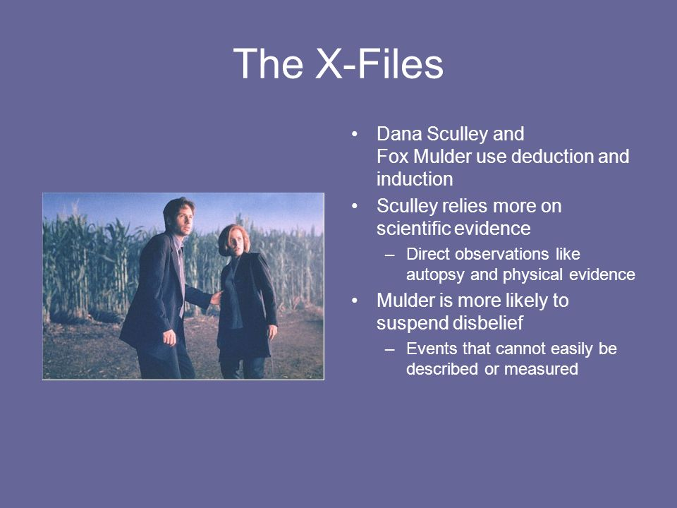 The X-Files Dana Sculley and Fox Mulder use deduction and induction