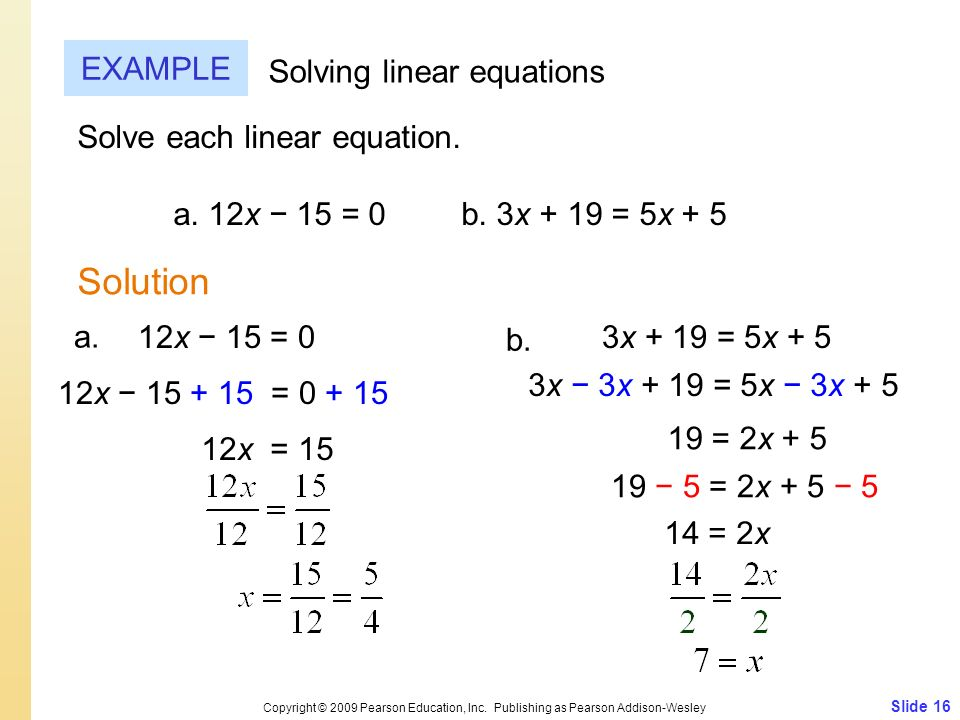 Solution EXAMPLE Solving linear equations Solve each linear equation.