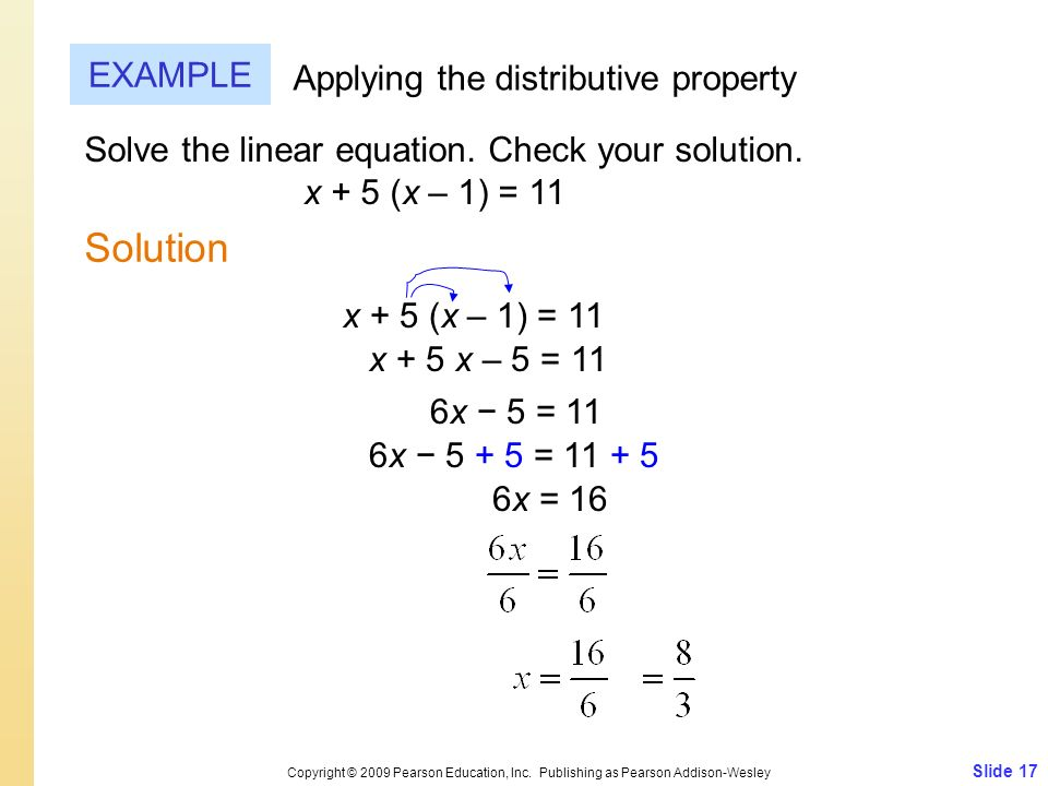 Solution EXAMPLE Applying the distributive property