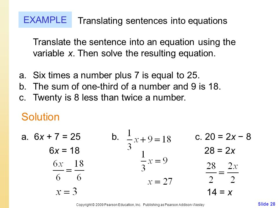 Solution EXAMPLE Translating sentences into equations