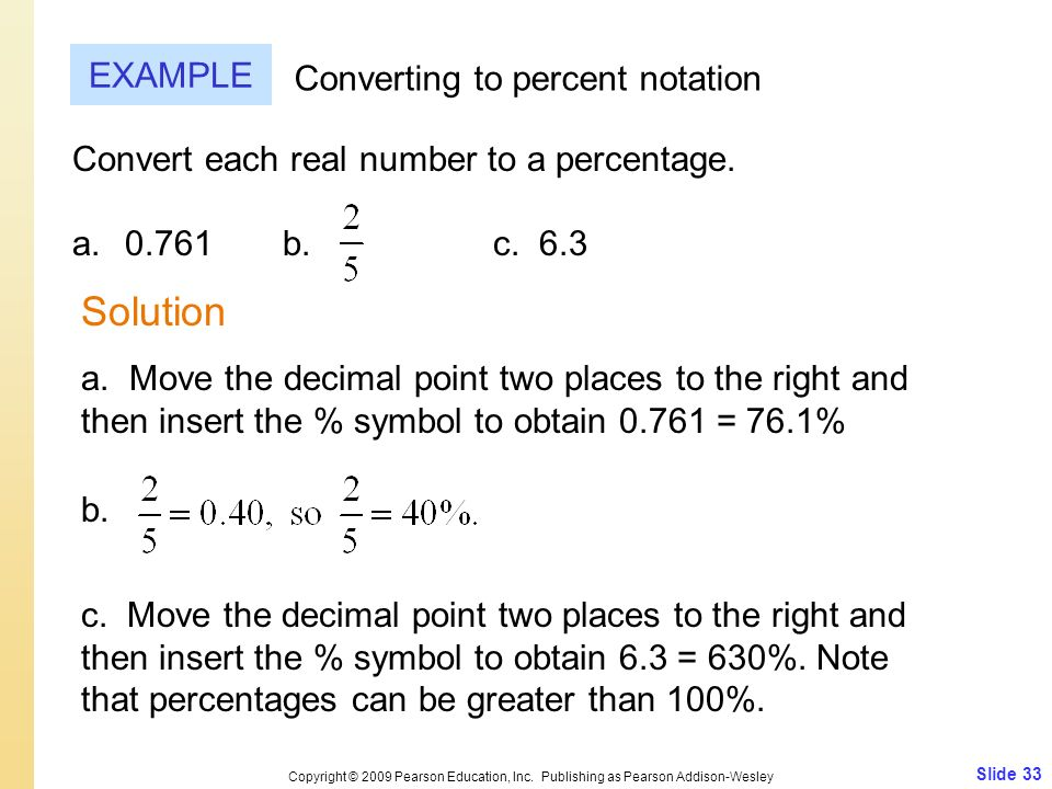 Solution EXAMPLE Converting to percent notation