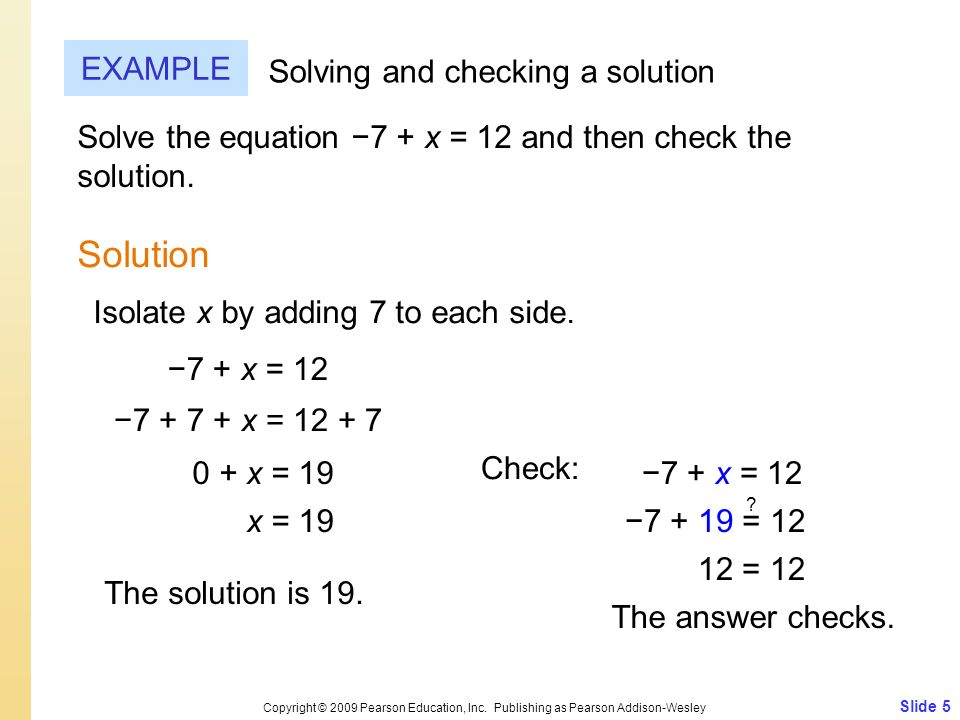 Solution EXAMPLE Solving and checking a solution