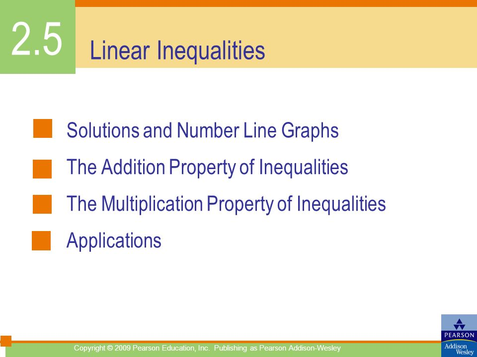 2.5 Linear Inequalities Solutions and Number Line Graphs