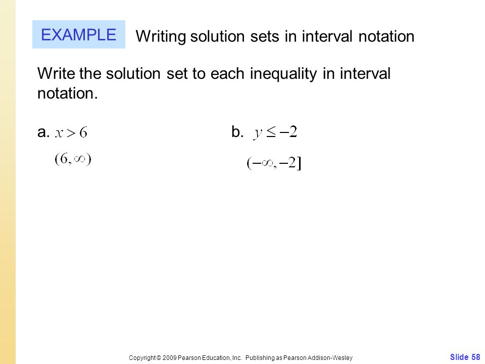 Writing solution sets in interval notation