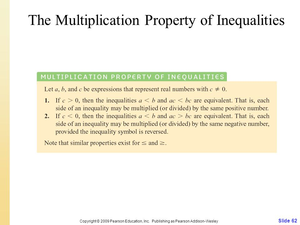 The Multiplication Property of Inequalities