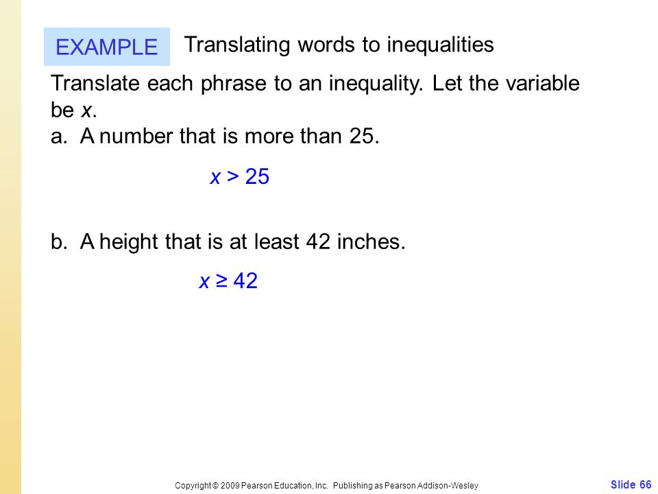 Translating words to inequalities