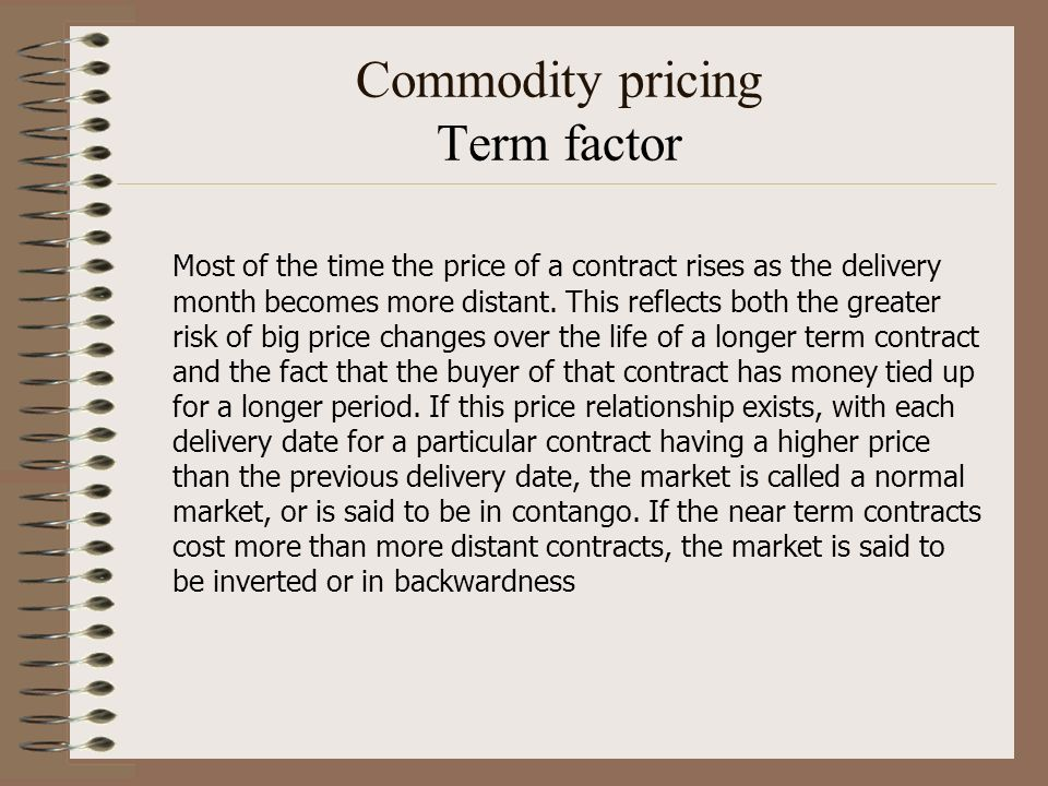 Commodity pricing Term factor