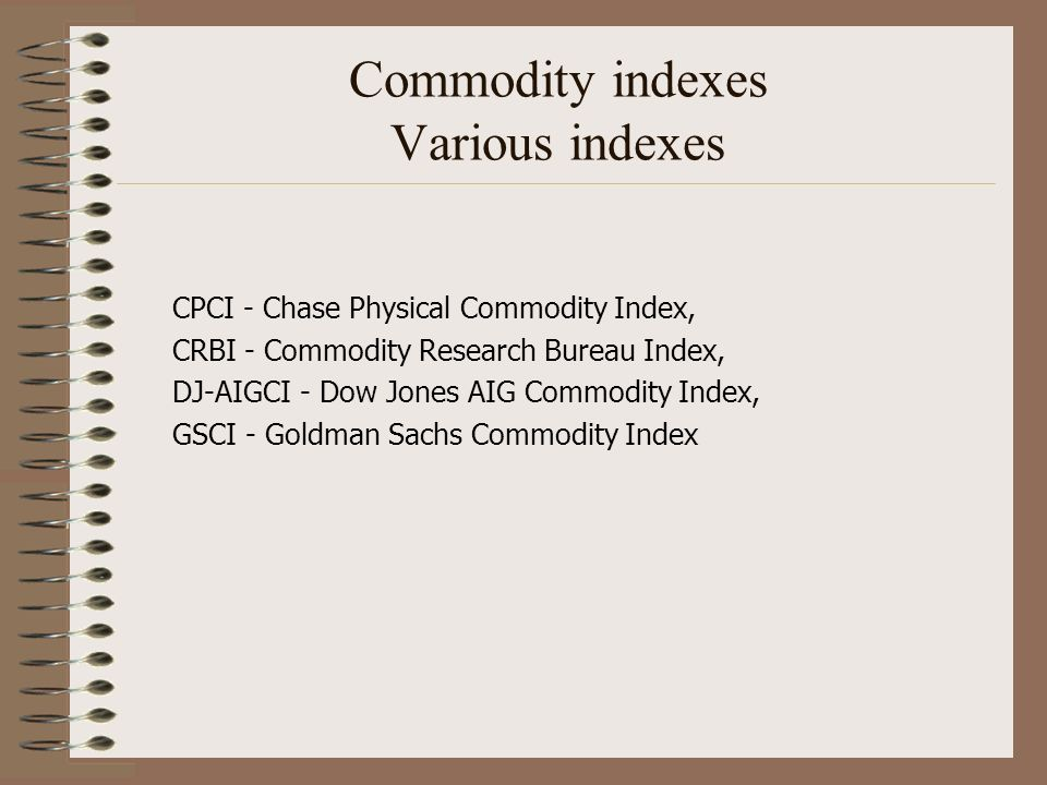 Commodity indexes Various indexes