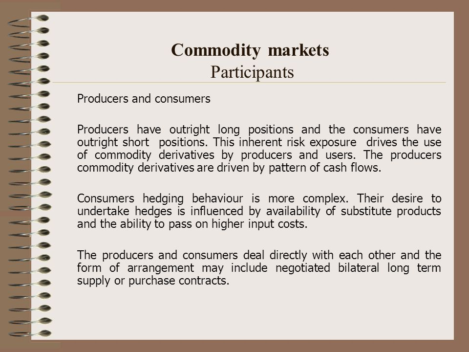 Commodity markets Participants