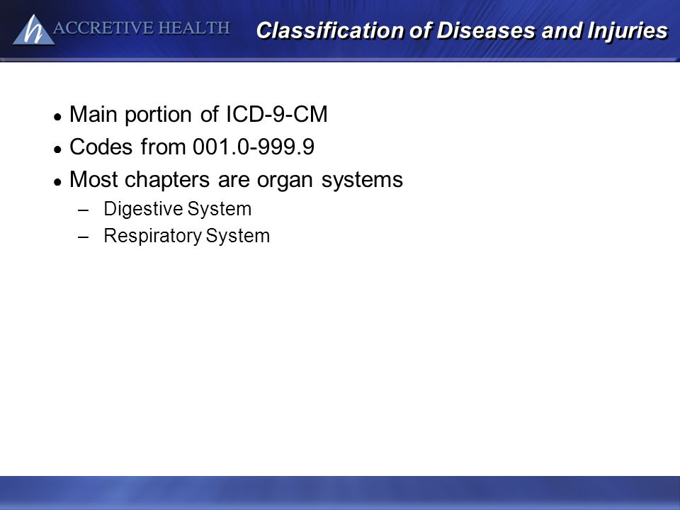 Classification of Diseases and Injuries