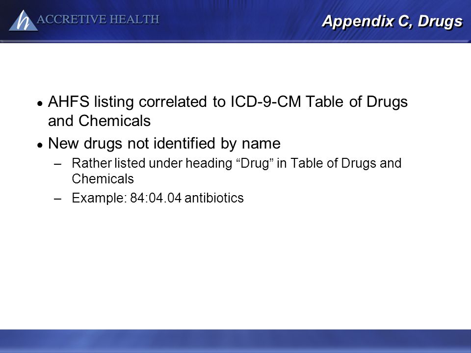 AHFS listing correlated to ICD-9-CM Table of Drugs and Chemicals