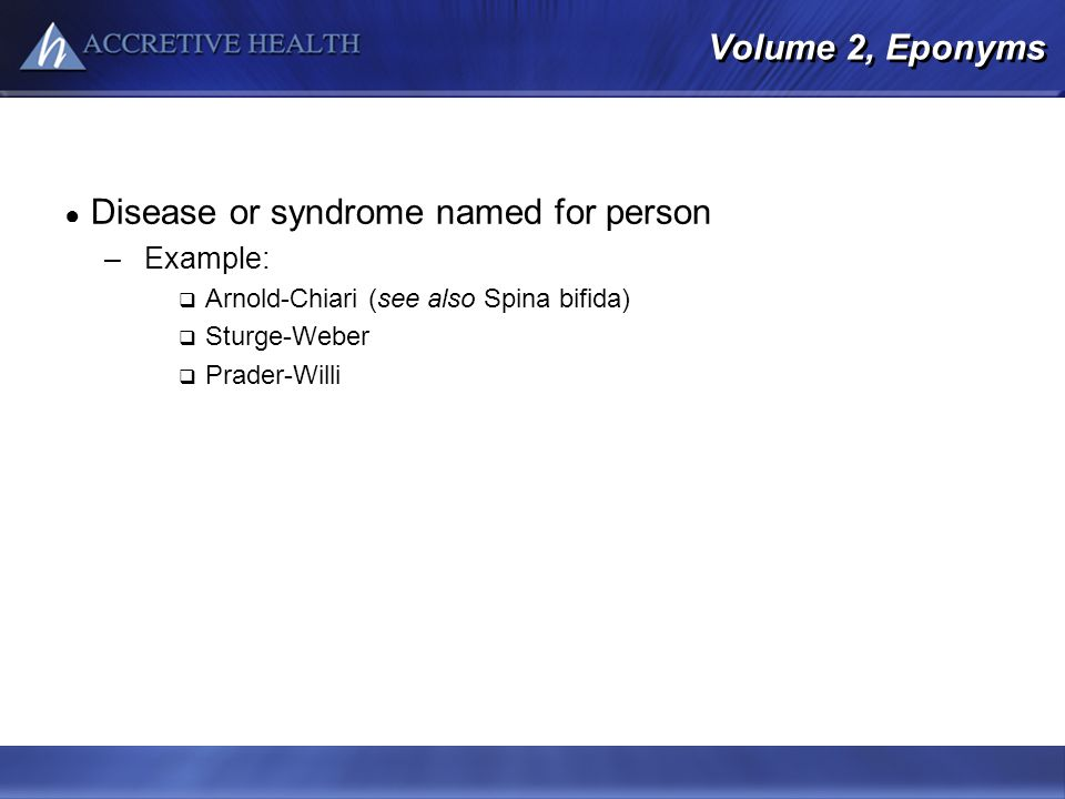 Disease or syndrome named for person
