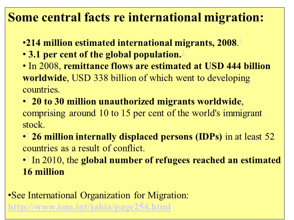 Some central facts re international migration: