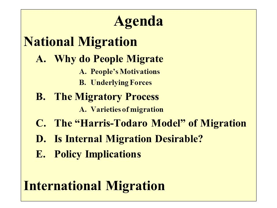 Agenda National Migration International Migration