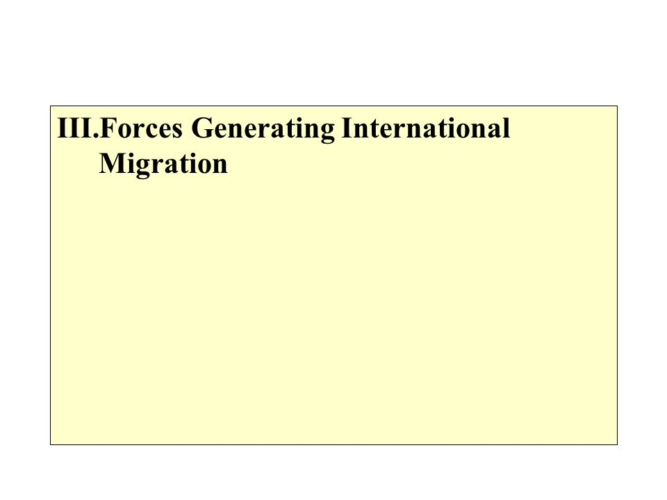 Forces Generating International Migration
