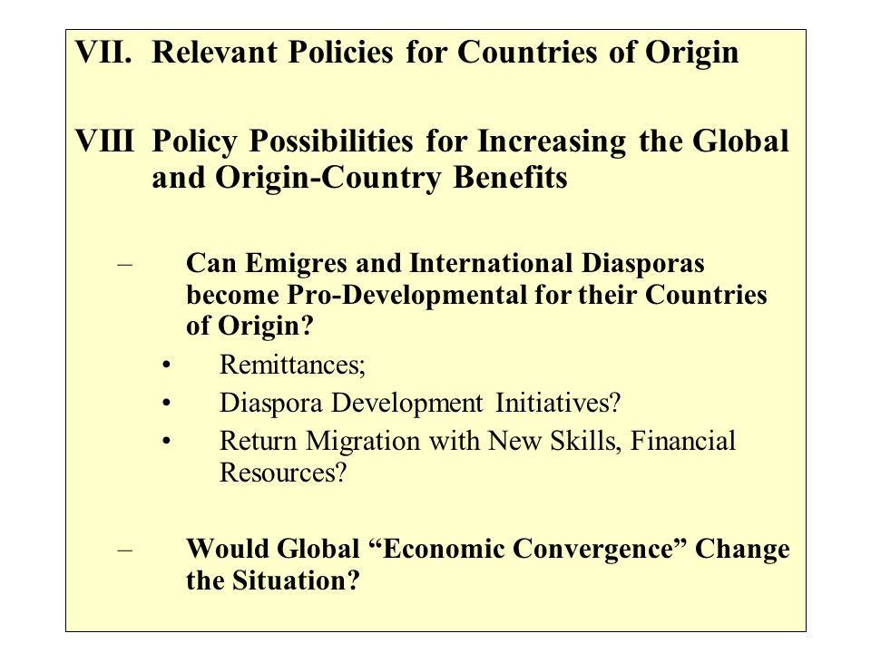 Relevant Policies for Countries of Origin